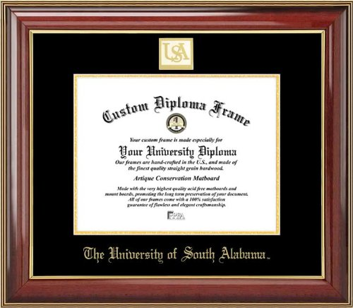 Alabama Jaguars - Gold Medallion - Mahogany Gold Trim - Diploma Frame (Features 22k Gold Trim)