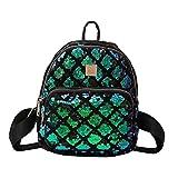 LUOEM Mochila Mini Casual lentejuelas cuadradas Travel Daypack bolso de hombro para mujeres niñas (verde)