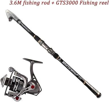 Pesca Rod Combos con telescópico Caña de Pescar Spinning Carretes ...