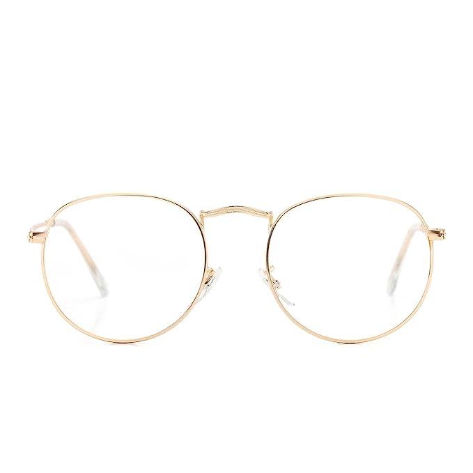 Agent Peggy Carter Costume, Dresses, Hats AZORB Round Clear Lens Glasses Circle Metal Frame Non-Prescription Eyeglasses for Men Women $7.99 AT vintagedancer.com