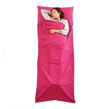 tianjuneu plegable único algodón saco de dormir Liner, sleep-sack integrado almohada colchón para Hotel y Verano Viajes Camping, Fuschia: Amazon.es: ...