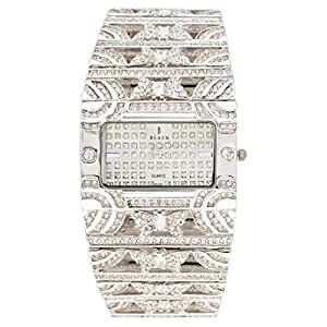 Black Royale Women's Silver Dial Brass Band Watch - 10602LSSB