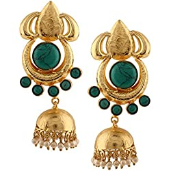 Efulgenz - Juego de joyas de perlas indias de bollywood chapadas en oro de 14 quilates con vidrio turquesa inspirado en media luna Jhumka Jhumki Azul