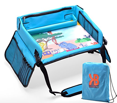 Kids Travel Play Tray – Activity, Snack, Play Tray & Organizer For Car Seat, Stroller Or Airplane traveling – Keeps Children Entertained – Portable And Foldable - With Bag + E-BOOK By KBT (Toys Travel Airplane For)