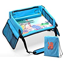 Kids Travel Play Tray – Activity, Snack, Play Tray & Organizer For Car Seat, Stroller Or Airplane traveling – Keeps Children Entertained – Portable And Foldable - With Bag + E-BOOK By KBT