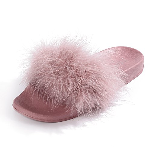 Womens Slides,Arch Support Sandals with Faux Fur Comfort Fuzzy Slippers by FITORY