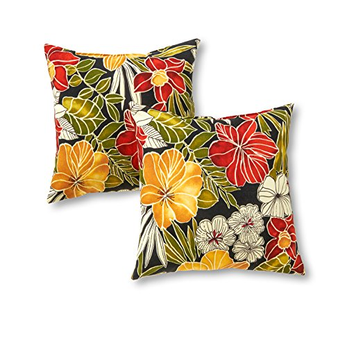Greendale Home Fashions 17 in. Outdoor Accent Pillow (set of 2), Aloha Black