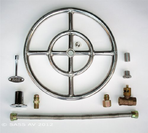 Fire Pit Ring, 12'' Diameter Stainless Steel Burner Ring Kit with Connectors by Fireplace Glass San Diego