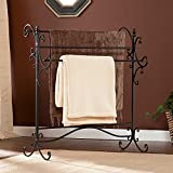 Southern Enterprises Scroll 3 Blanket Rack, Black with Bronze Rub Through Finish