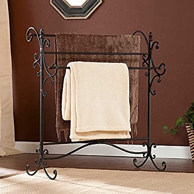 Southern Enterprises Scroll 3 Blanket Rack - Store Quilts, Comforters, Towels - Elegant Iron Metal Frame