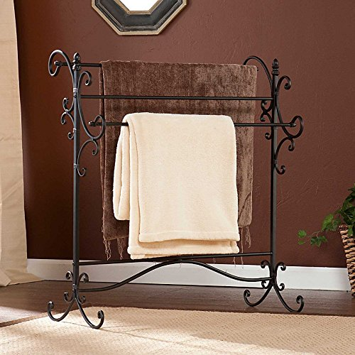 Southern Enterprises Scroll 3 Blanket Rack, Black with Bronze Rub Through Finish (Rack Metal Quilt)