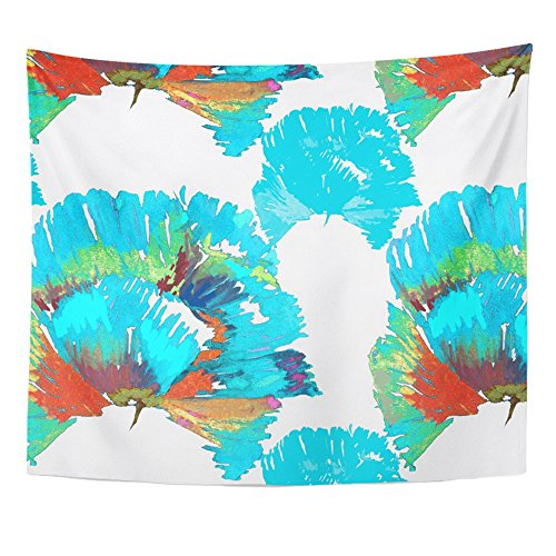 Emvency Tapestry Mandala 50x60 inch Home Decor Green Watercolor Turquoise Poppies Pattern On White Orange Bloom Blossom Botanical For Bedroom Living Room Dorm - Hall Orange Poppy
