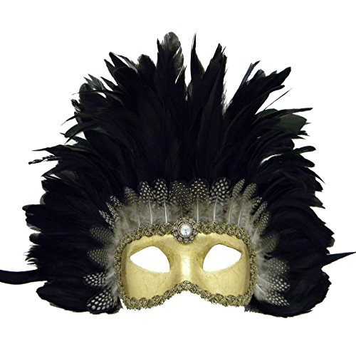 Eyes Wide Shut Costumes (Eyes Wide Shut Gold Colombina Feathered Venetian Mask)