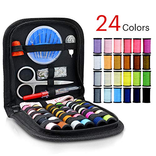 Virwir Sewing Kit with 49 Sewing Accessories, 24-Color Sewing Threads for Traveler, Emergency, DIY Sewing Supplies Organizer Filled with Mending and Sewing Needles/Scissor/Threads/Thimble/Tape Measure
