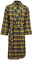 Lloyd Attree & Smith - robe de chambre légère 100% coton brossé - carreaux bleu marine / jaune - homme