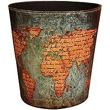 Wastebasket, Samyoung European Style World Map Pattern PU Leather Paper Basket Trash Can Dustbin Garbage Bin.