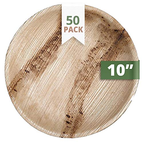 (CaterEco Round Palm Leaf Plates Set (Pack of 50) | Dinner Plates |Ecofriendly Disposable Dinnerware | Heavy Duty Biodegradable Party Utensils for Wedding, Camping & More)