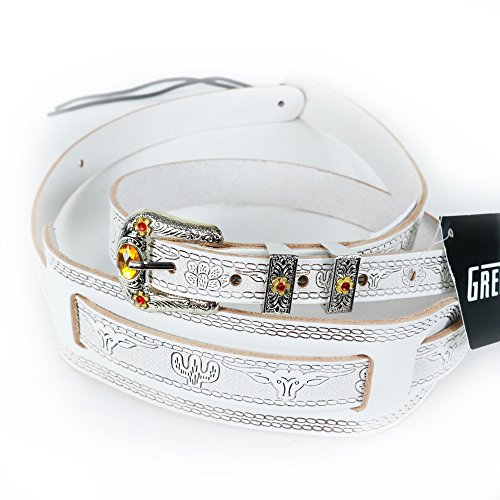 Gretsch Vintage Guitar Straps - Gretsch Tooled Leather Vintage Syle Guitar Strap in White with Jewel
