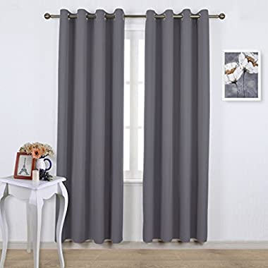 Nicetown Three Pass Microfiber Noise Reducing Thermal Insulated Solid Ring Top Blackout Window Curtains / Drapes (Two Panels,52 x 84 Inch,Gray)