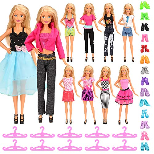 Barwa 30 Pcs Doll Clothes Outfit & Accessories for 11.5 Inch Girl Doll 5 Sets Mini Dresses + 5 Tops + 5 Pants + 10 Shoes + 10 Hanger Gift for Kids( Style C )
