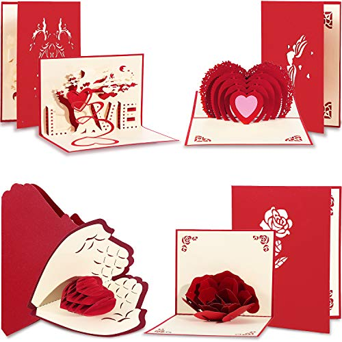 Chuangdi 4 Pieces Valentines 3D Card Pop up Love Greeting Cards with Envelopes for Wedding Birthday Anniversary