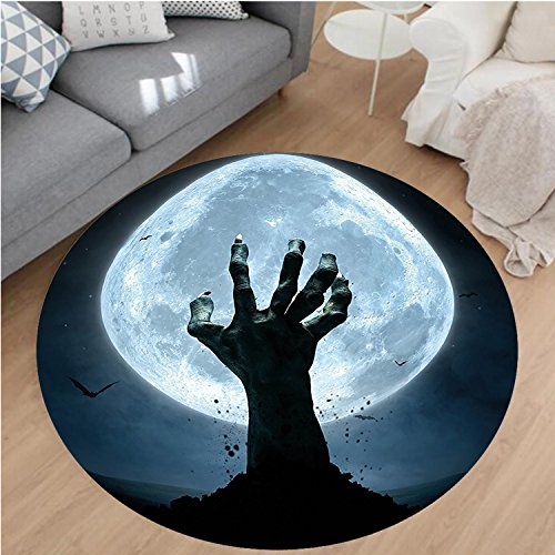 Nalahome Modern Flannel Microfiber Non-Slip Machine Washable Round Area Rug-ombie Hand Earth Soil Full Moon Bat Horror Story October Decor Twilight Themed Blue Black area rugs Home Decor-Round 28