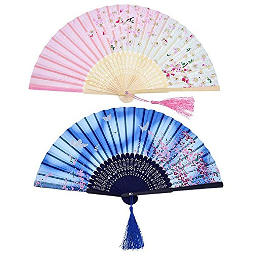 Hot Sale! Hongxin Chinese Style Silk Cloth Elegant Folding Fan Wooden Bamboo Antiquity Folding Fan Calligraphy Painting for Wedding Party Favor Stage Performance Fan Creative Gift ()