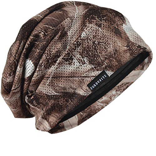 FORBUSITE Mens Solid Thin Slouchy Summer Beanie Winter Cap Hat (B091-Brown) ()