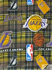 "Los Angeles Lakers Plaid Nba Basketball Print Polar Fleece Fabric 60"" Width Sold By The Yard 562"