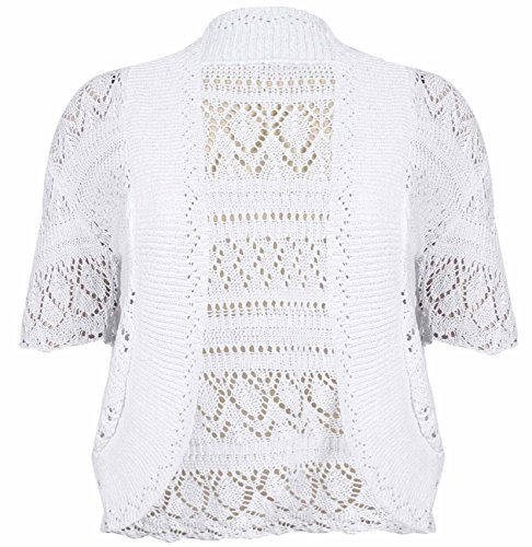 Plus Size Knitted Bolero Shrug Cardigan White 20-22 (Crocheted Shrug)