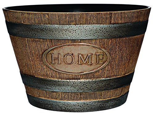 "Classic Home and Garden 70 Whiskey Barrel, 15""-""Home, Distressed Oak"