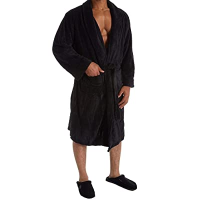 IZOD Men's Drop-Needle Comfort Soft Robe (Black) at Men's Clothing store