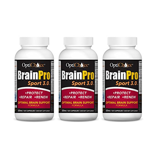 Optichoice® Brain Pro Sport 3.0 - Optimal Brain Support Formula - Produced in a Cgmp NSF Sport Certified Facility - Made in USA - 325mg – 120 Capsules/softgels (3 Pack) by OptiChoice