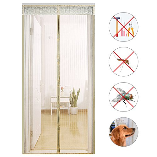 Cheap  Decha Reinforced Mesh Magnetic Screen Mesh Door Full Frame Velcro Fit Door..