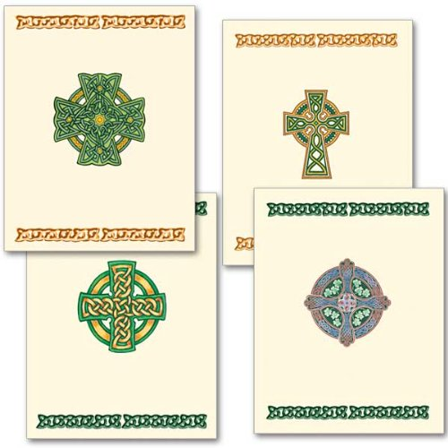 Irish Deluxe Note Card Assortment with Envelopes 4 Different Celtic - Cross Blank