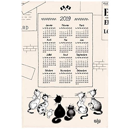 TORCHONS & BOUCHONS, Dubout, 2019 Chats - Calendrier Murale (2019 French Cats Mural Calendar) Printed French Kitchen Tea Towel, 100% Cotton. All in French.