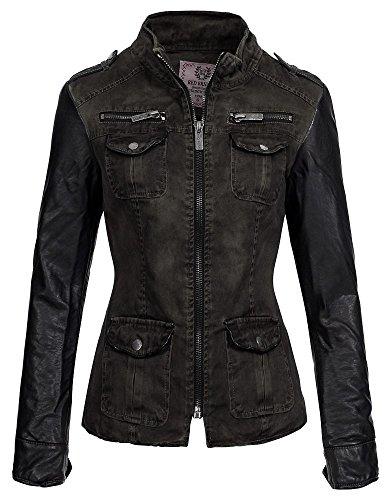 Veste cuir Redbridge Cipo Baxx femme pour R 42450W synth manches by amp; avec en rYqrHg