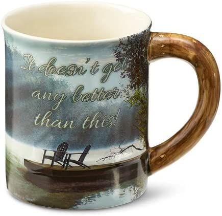 Green Blue Wild Wings Lake Scene Sculpted Mug by Anthony Padgett 16 oz Brown