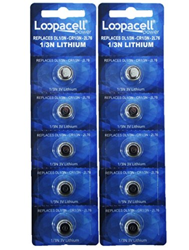 Loopacell 1/3N Battery Replacement for DL1/3N CR1/3N 3V Lithium Battery Pack of 10