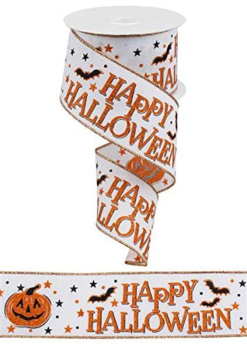Happy Halloween Pumpkins White (Orange Black White Happy Halloween Pumpkin Wired Ribbon: 2.5 Inches X 10)