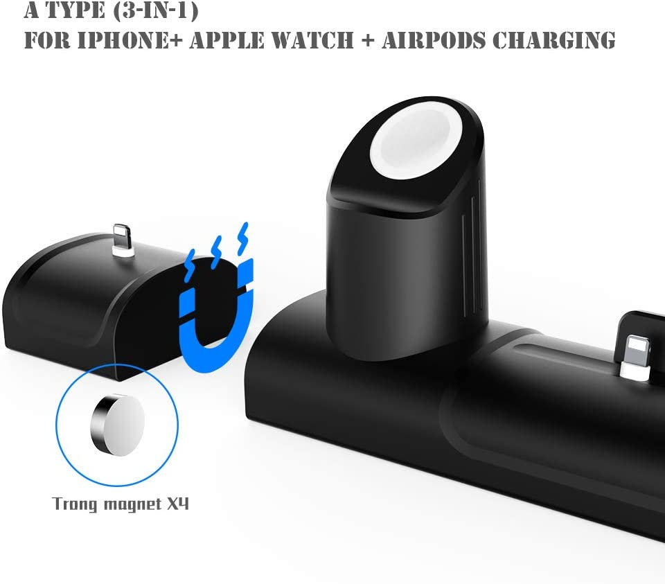 Black Airpods Charger Stand Dock with Airpods Case Cover Daite Airpods Silicone Charging Station