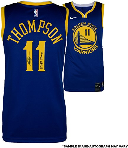 State Warriors Autographed 2018 NBA Finals Champions Nike Blue Swingman Jersey with 18 Champs Inscription - Fanatics Authentic Certified (Autographed Authentic Nba Basketball Jersey)