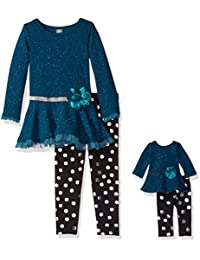 Big Girls' Ruffled Mini Dress With Legging and Matching Doll Outfit