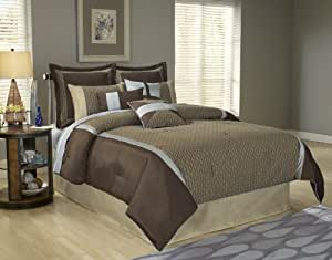 Fashion Bed Group 82EQ713STK Paramount Stockton 14-Piece Comforter and Stuffed Euro Pillow Bed Ensemble Super Pack, King