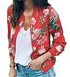 Domple Womens Fashion Zipper Digital Print O Neck Long Sleeve Bomber Jacket Red US S