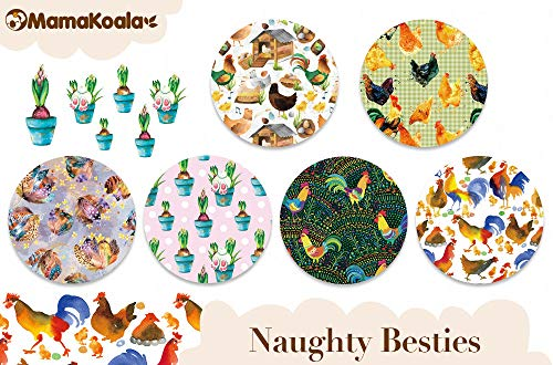 Mama Koala One Size Baby Washable Reusable Pocket Cloth Diapers, 6 Pack with 6 One Size Microfiber Inserts (Naughty Besties)