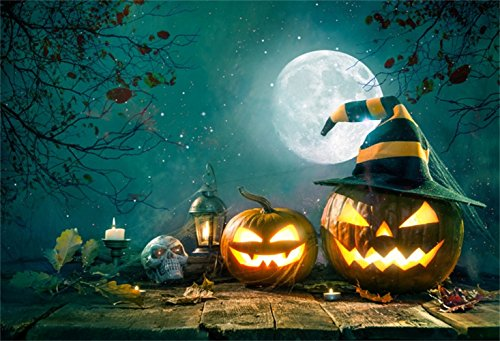 (Laeacco Halloween Backdrop 10x6.5ft Vinyl Photography Background Grinning Pumpkin Lamps On Wizard Hat Cobweb Dark Moonlight Burning Candles Skull Vintage Lantern Wooden Floor Trick Or Treat Baby)