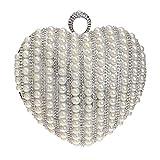 FstFshion Womens Rhinestone Crystal Handbag Heart Shape Evening Bag Faux Pearl Clutch Purse