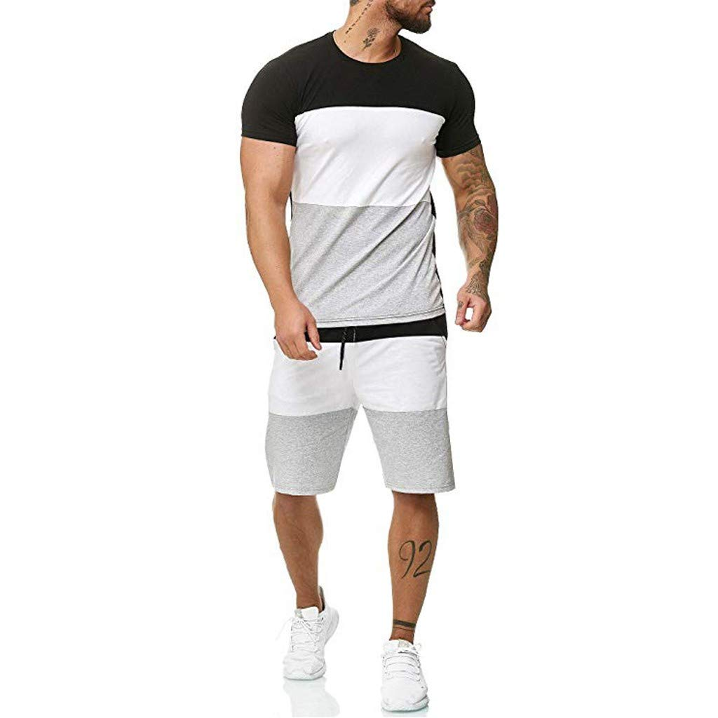 Sports Thin Sets for Mens Summer Leisure Stripe Loose Short Sleeve Shorts Tee Tops Sets (3XL, Black-1) by Moxiu Men's Tops