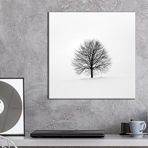 - wall26 - Square Canvas Wall Art - Black Alone Tree in The Snow in Winter - Giclee Print Gallery Wrap Modern Home Decor Ready to Hang - 24x24 inches